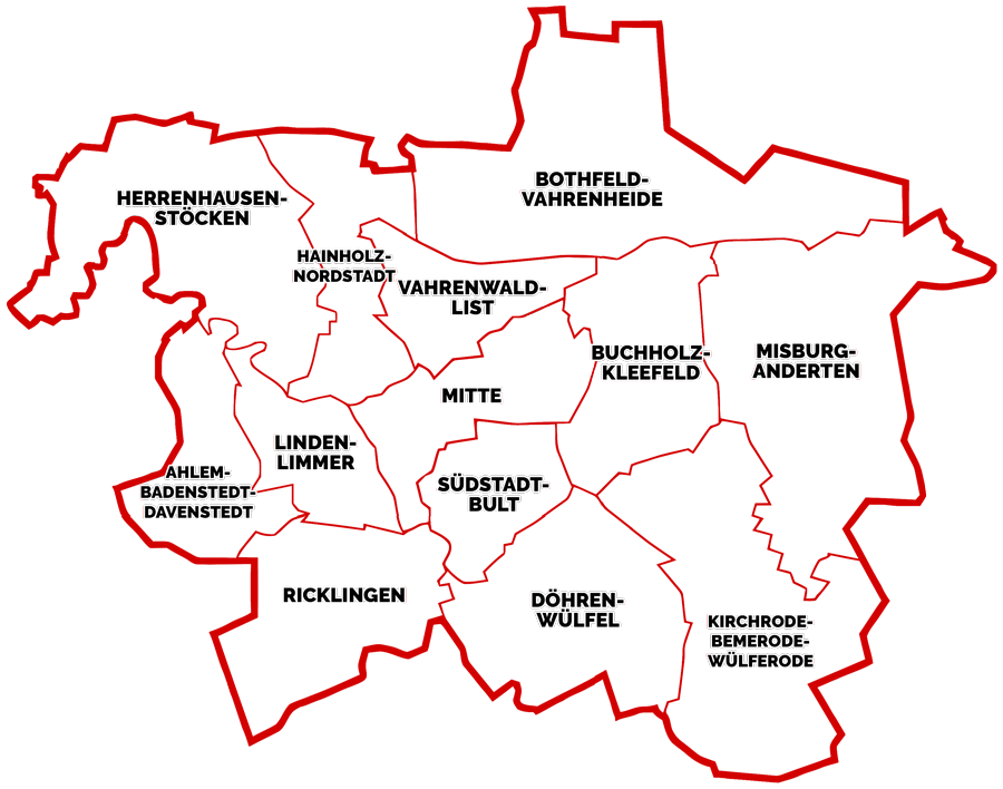 Stadtkarte von Hannover
